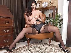 Brunette, Masturbation, Pantyhose, Dildo