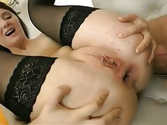 Anal, Brunette, Anal, Small Tits, Stockings